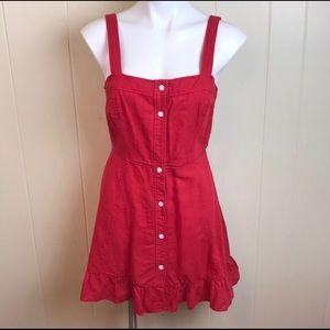 Zara red ruffle dress size small button front